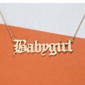 """Gold Baby Girl Letter Necklace 18"""""""